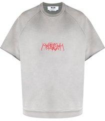 msgm short-sleeve logo-print sweatshirt - grey