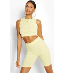 racer front bust seam detail rib crop top, yellow