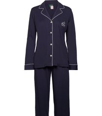 lrl hammond knit collar pj set pyjamas blå lauren ralph lauren homewear