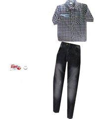 conjunto   camisa  y jeans industrial