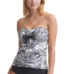 dkny printed bandeau bow tankini top women's swimsuit