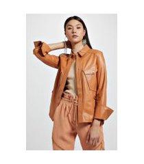 camisa de couro bolso lateral marrom boho - 36