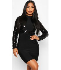 boutique bandage high neck sequin mini dress, black
