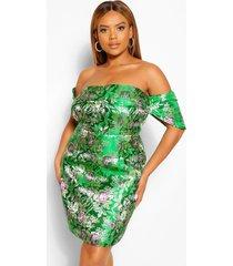 plus jacquard mini jurk met open schouders, green