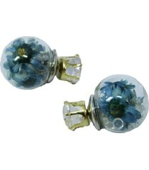 aretes topo cristal flor azul  ar-10975