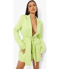 geweven oversized blazer jurk met ceintuur, washed lime