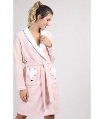 roupão de plush feminino raposa manga longa rosa claro