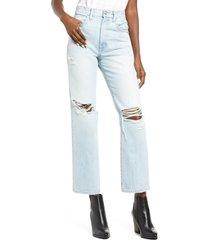 women's slvrlake london nonstretch high waist ankle straight leg jeans, size 32 - blue