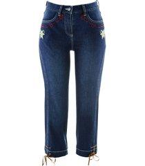 folkdräktsinspirerade jeans, 3/4-längd