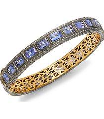 black rhodium-plated sterling silver, 18k yellow gold, tanzanite & diamond bangle bracelet