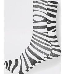 river island womens white zebra print ankle socks