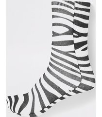 river island womens white zebra print ankle socks