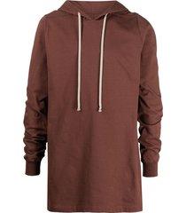 rick owens longline cotton hoodie - brown