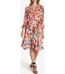 tahari asl floral-print faux-wrap dress