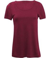zijden-shirt met korte mouwen uit organic silk, bordeaux 40/42