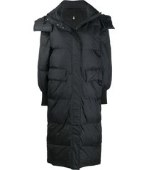 essentiel antwerp long hooded puffer coat - black