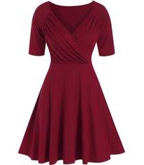ruched raglan sleeve surplice dress