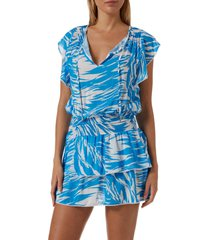 women's melissa odabash keri cover-up dress, size large - blue