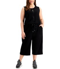 calvin klein plus size half-zip french terry jumpsuit