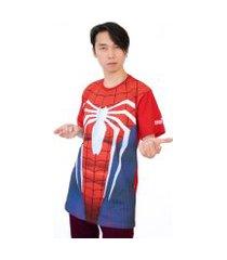 camiseta marvel game homem aranha peitoral vermelho