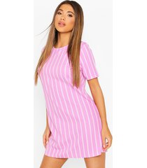 gestreepte pastel jurk met korte mouwen, lila