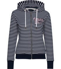 applique serif ziphood ub hoodie trui blauw superdry