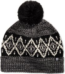 block hats men's marl ribbed knit air isle beanie with pom