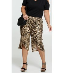 calça feminina pantacourt estampa animal print plus size