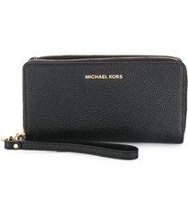 michael michael kors jet set travel continental wallet - black