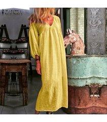 zanzea para mujer de la manga de soplo del cuello de v de la playa vestido de algodón floja ocasional de kaftan vestidos maxi -amarillo
