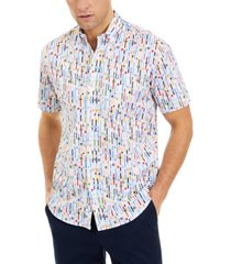 club room men's stretch watch-print shirt, created for macy's
