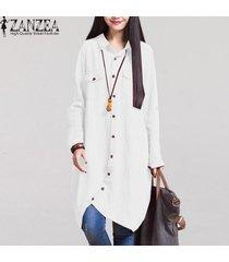 zanzea moda otoño venta mujeres blusas de manga larga dobladillo irregular de las camisas de algodón ocasionales sólidos blusas suelta más el tamaño de las tapas (blanco) -blanco