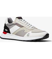 mk sneaker miles in tela e pelle - avena (naturale) - michael kors