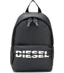 diesel logo backpack in pu - black