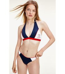 tommy hilfiger women's recycled colorblock halter swim top desert sky - m