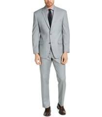 marc new york by andrew marc men's slim-fit light gray sharkskin suit