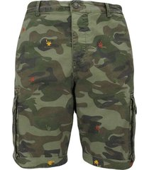 camouflage cargo bermuda shorts with embroidered palm trees