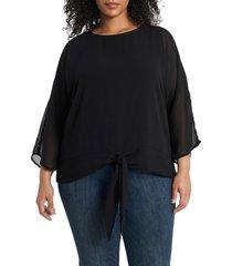 plus size women's vince camuto tie front chiffon blouse, size 3x - black
