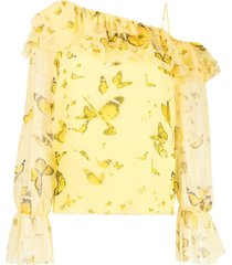 blumarine ruffled one-shoulder blouse - yellow