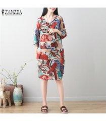 zanzea mujeres o cuello casual impresión floral larga camisa de vestir retro mini vestido más del tamaño -rojo