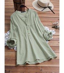blusa in cotone plus a maniche lunghe scollo a v tinta unita vintage