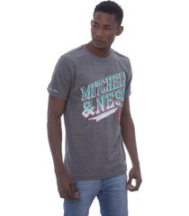 camiseta mitchell & ness branded diagonal sweep cinza - cinza - masculino - dafiti
