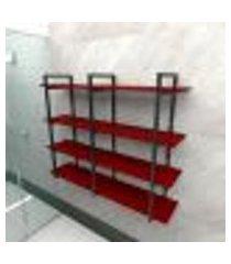 prateleira industrial banheiro aço cor preto 120x30x98cm cxlxa cor mdf vermelho modelo ind43vrb