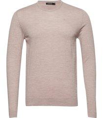 newman-perfect merino stickad tröja m. rund krage beige j. lindeberg