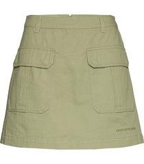 cotton twill utility mini skirt kort kjol grön calvin klein jeans