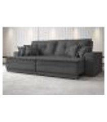 sofá palermo 2,60m retrátil e reclinável naturale linho grafite - netsofas