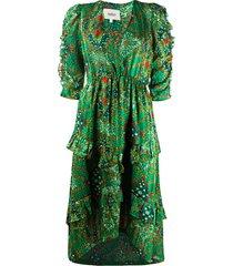 ba & sh happy abstract-print surplice dress - green
