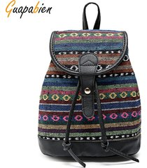 mochila estampada con estampado de estilo étnico femenino guapabien negro (geometría)