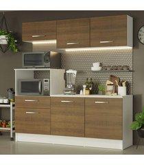 cozinha compacta madesa onix 180001 com armário e balcão - branco/rustic branco