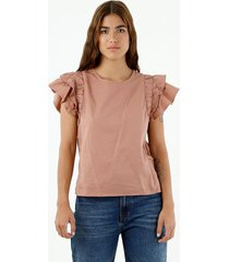 camisa de mujer, cuello redondo manga corta con boleros